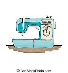 Retro Nähmaschine, Sketch für Ihr Design