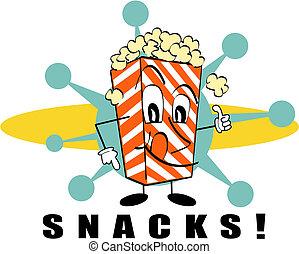 Retro-Popcorn-Snacks Zeichentrickkunst.