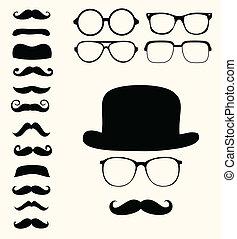 Retro-Schnurbart hat eine Brille