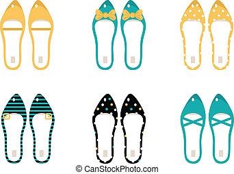 Retro-Schuh-Sammlung isoliert auf weiß (gelb & blau)