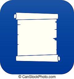 Retro Scroll Paper Icon digital blue.