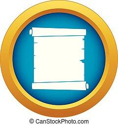 Retro Scroll Papier Icon blau Vektor isoliert.