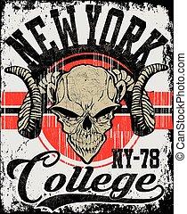 Retro Skull athletisches Design komplett mit Ram Maskottchenkopf-Vektorgrafik, Vintage-Athlet-Fonts.
