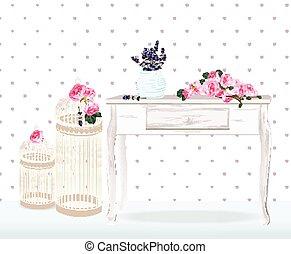 Retro Stil Blumendekor für Hochzeit, Geburtstag, Einladungskarte. Vintage Hochzeitsdekor Peony, Lavendel, Vogelkäfige auf einem Holztisch