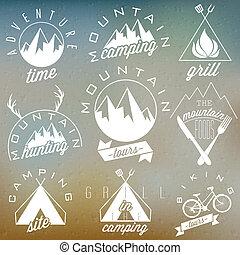 Retro-Symbole für den Berg