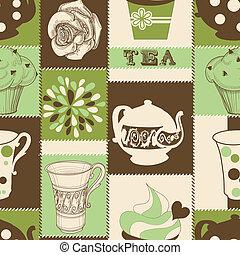 Retro-Tee und Törtchen, nahtlos