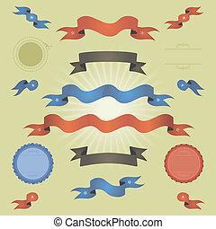 Retro Vintage-Banner, Bänder und Flaggen