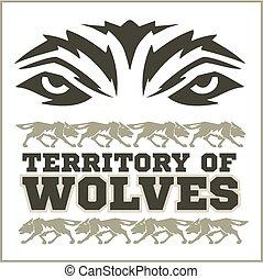 Retro Wölfe Emblem