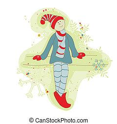 Retro-Weihnachts-Elf-Karte für Sammelalbum, Design, Einladung, Grüße