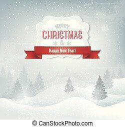 Retro-Weihnachts-Hintergrund mit Winterlandschaft. Vector