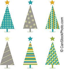 Retro-Weihnachtsbäume-Icon-Set