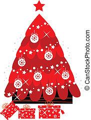 Retro-Weihnachtsbaum mit Dekoration auf Weiß