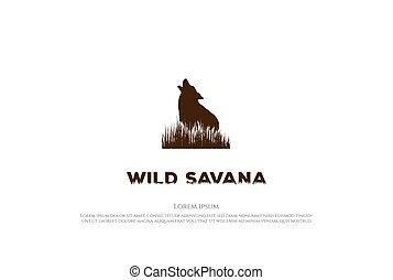 retro, weinlese, vektor, heulen, gras, savanne, wolf, design, logo