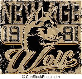 Retro Wolf Maskottchen- athletisches Design komplett mit Wolfs-Darstellung, klassische Sport-Fonts.
