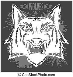 Retro Wolf Maskottchen mit Kopf.