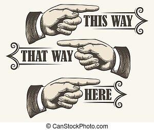 Retro zeigt die Finger