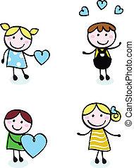 Retrogenähte Kinder mit Liebes-Ikonen isoliert auf weiß