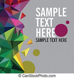 Retromuster von geometrischen Formen. Farbiges Mosaik-Banner. Geometrische Hipster-Retro-Hittergrund mit Platz für Ihren Text. Retro-Dreieck Hintergrund