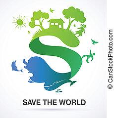 Rette die Welt - Natur und Ökologie Hintergrund mit S Icon
