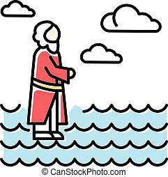 retter, christ., icon., wasser, abbildung, wunder, rgeöffnete, oberfläche, gehen, waching, narrative., neu , heaven., blaues, farbe, jesus, testament., vektor, angebot, hand, freigestellt, bibel