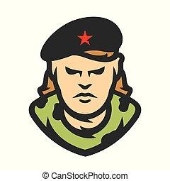 revolutionär, illustration., kuba, vektor, kommunistisch, karikatur