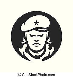 revolutionär, silhouette, kuba, zeichen, vektor, kommunistisch