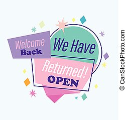 rgeöffnete, zurück, nachricht, herzlich willkommen, typographie, haben, zurückgegeben, wir, reopening, banner