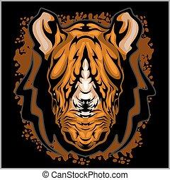 Rhino athletisches Design komplett mit Nashöroceros Maskottchen Vektorgrafik.