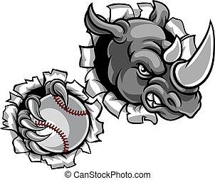 Rhino hält Baseballball im Hintergrund.