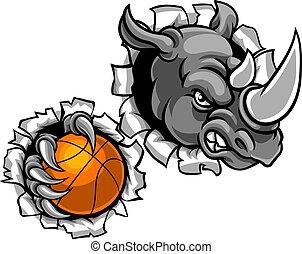 Rhino hält Basketballball im Hintergrund.