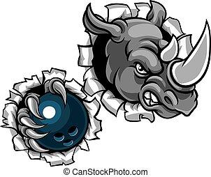 Rhino hält Bowlingkugel im Hintergrund.