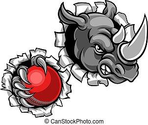 Rhino hält Cricketball im Hintergrund.