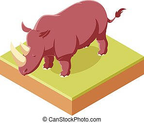 Rhinozeros isometrische Ikone.