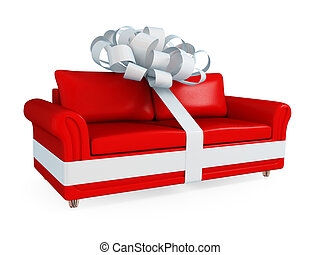 ribbon., ledern sofa, aufgewickelt, weiß rot