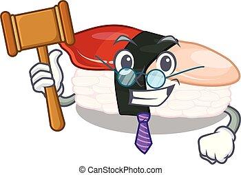 Richter Hokkigai Sushi wird Zeichentricktisch serviert.