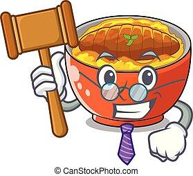 Richter Katsudon wird auf Maskottchenplatte serviert.