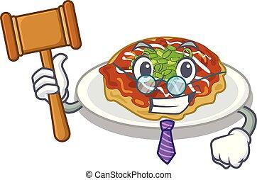 Richter Okonomiyaki wird auf Zeichentrickplatte serviert