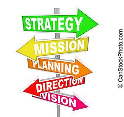 richtung, mission, strategie, planung, straße unterzeichnet, vision