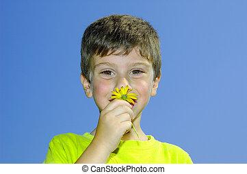Riech die Blumen.