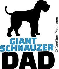 Riesen Schnauzer Dad mit Hundesilhouette.