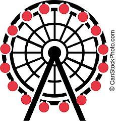 Riesenrad mit roter Gondel.