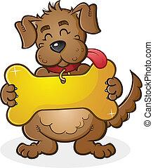 riesig, hund, karren, zeichen, etikett, kragen