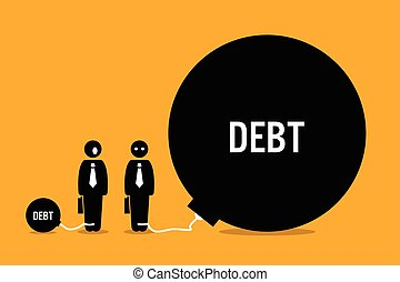 riesig, leute, andere, debt., überrascht, mann