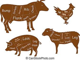 Rindfleisch, Schweinefleisch, Hühner- und Lammfleischschnitte.