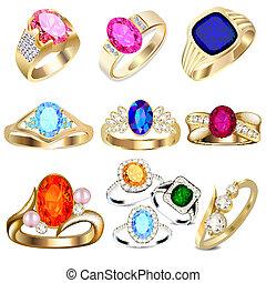 Ring mit wertvollen Steinen auf weiß
