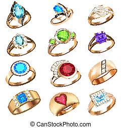 Ringe mit Edelsteinen auf weißem Hintergrund