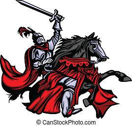 Ritter Maskottchen auf Pferd