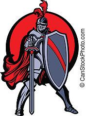 Ritter Maskottchen mit Schwert und Schild