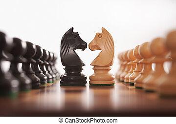 ritter, reihen, schach, zwei, pfänder, herausforderung, zentrum