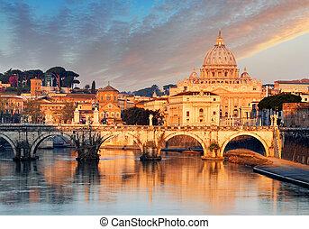 River Tiber, ponte sant angelo und St. Peter's Basilika